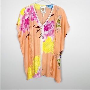 NWT Z&L Europe Floral fringe Cover up Tunic Small
